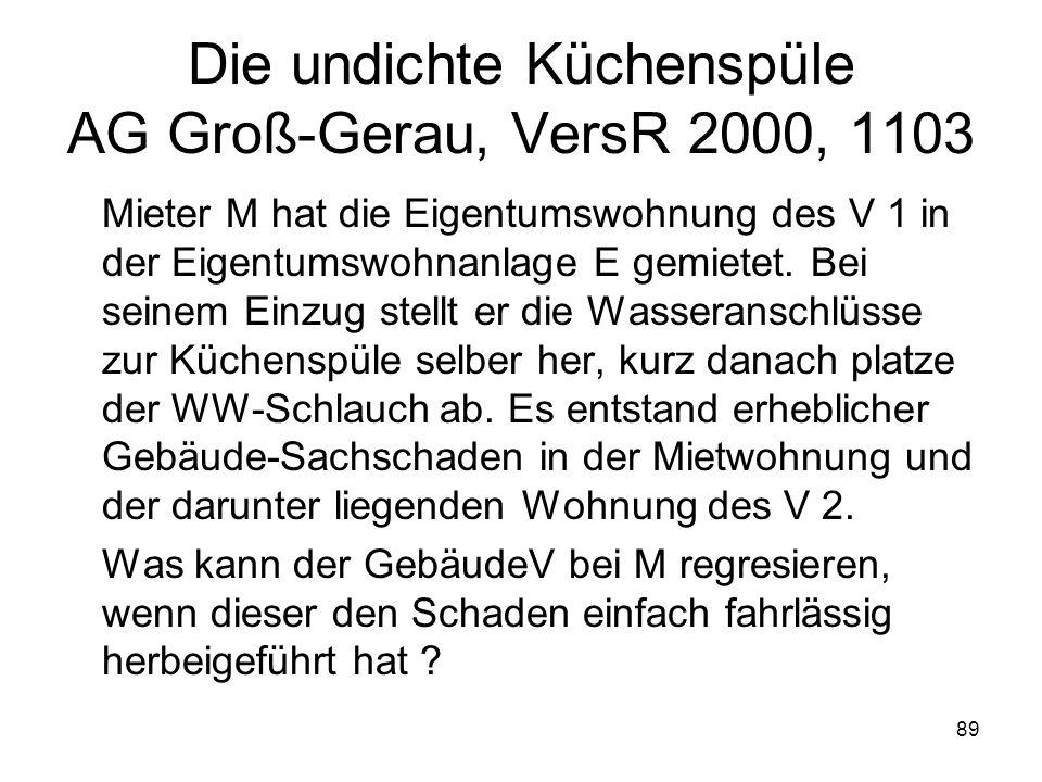 89 Die undichte Küchenspüle AG Groß-Gerau, VersR 2000, 1103 Mieter M hat die Eigentumswohnung des V 1 in der Eigentumswohnanlage E gemietet. Bei seine