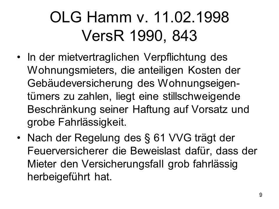 9 OLG Hamm v. 11.02.1998 VersR 1990, 843 In der mietvertraglichen Verpflichtung des Wohnungsmieters, die anteiligen Kosten der Gebäudeversicherung des