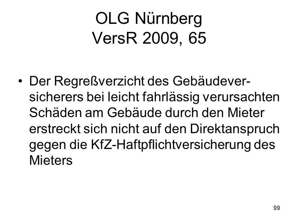 99 OLG Nürnberg VersR 2009, 65 Der Regreßverzicht des Gebäudever- sicherers bei leicht fahrlässig verursachten Schäden am Gebäude durch den Mieter ers