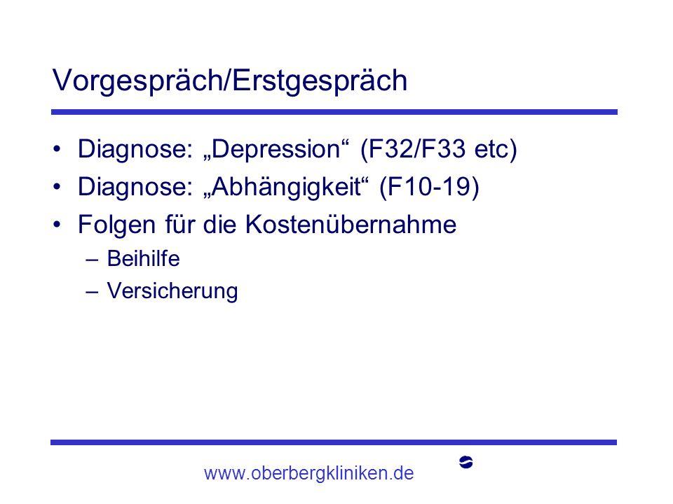 www.oberbergkliniken.de Vorgespräch/Erstgespräch Diagnose: Depression (F32/F33 etc) Diagnose: Abhängigkeit (F10-19) Folgen für die Kostenübernahme –Be