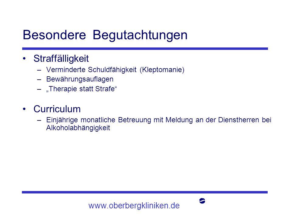 www.oberbergkliniken.de Besondere Begutachtungen Straffälligkeit –Verminderte Schuldfähigkeit (Kleptomanie) –Bewährungsauflagen –Therapie statt Strafe