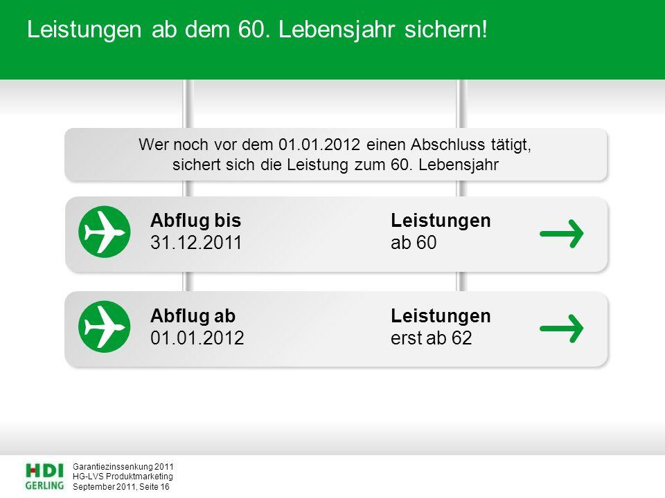 HG-LVS Produktmarketing Garantiezinssenkung 2011 September 2011, Seite 16 Leistungen ab dem 60. Lebensjahr sichern! Wer noch vor dem 01.01.2012 einen