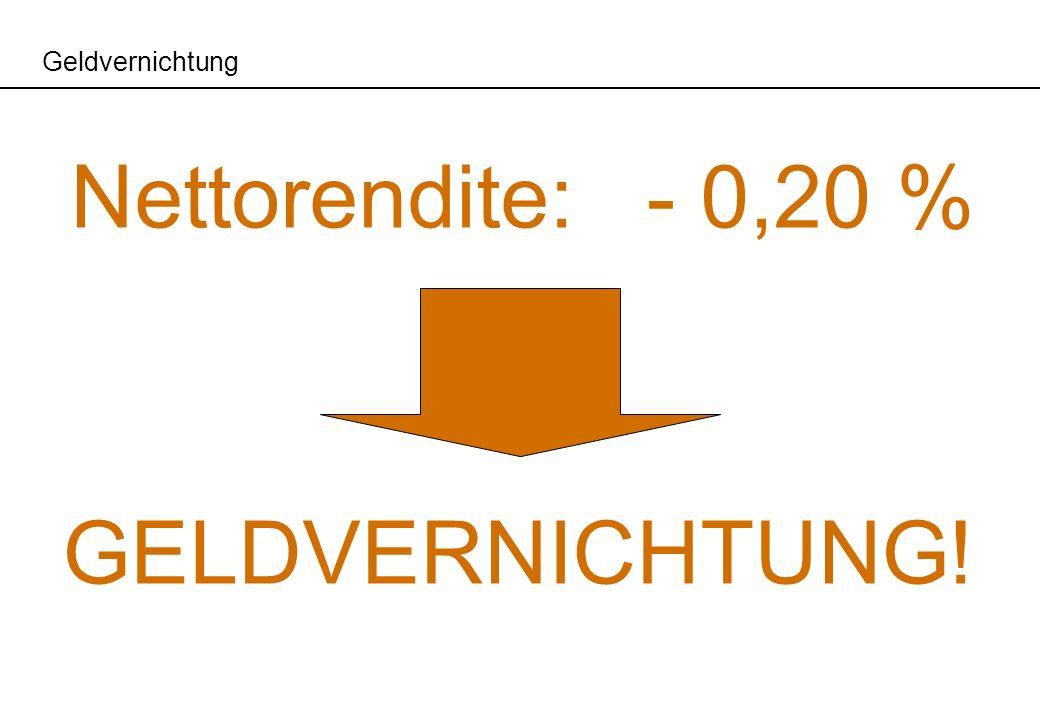 Geldvernichtung Nettorendite:- 0,20 % GELDVERNICHTUNG!
