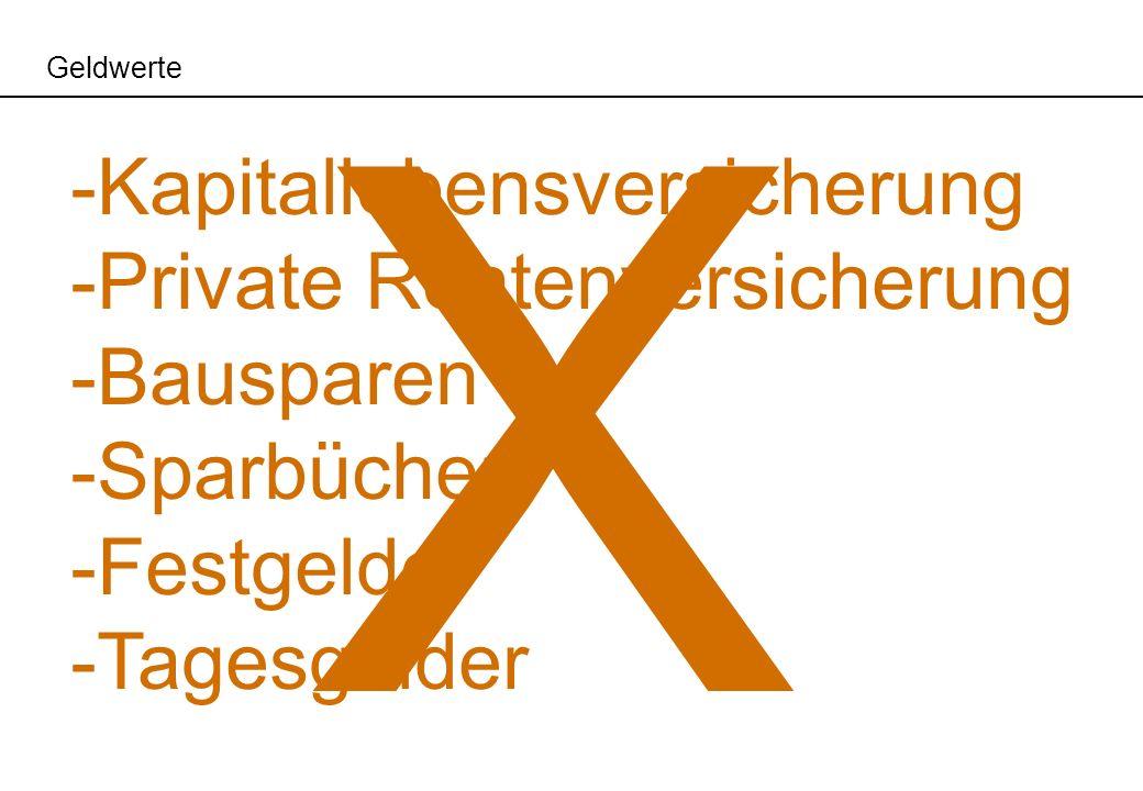 Geldwerte -Kapitallebensversicherung -Private Rentenversicherung -Bausparen -Sparbücher -Festgelder -Tagesgelder X