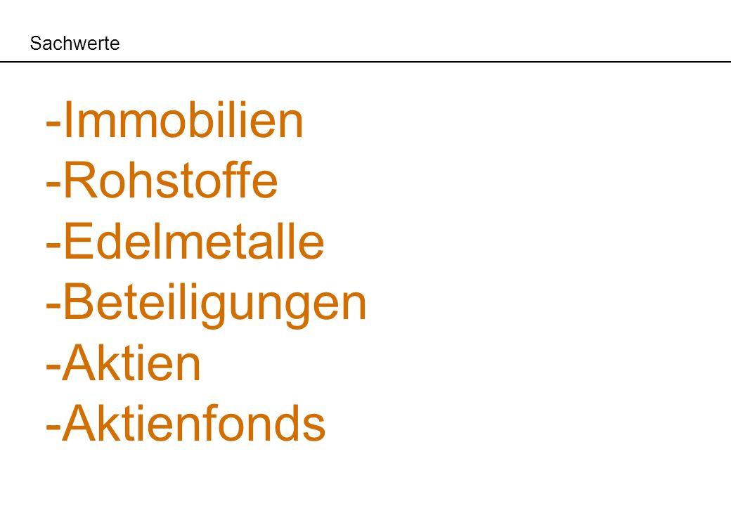 Sachwerte -Immobilien -Rohstoffe -Edelmetalle -Beteiligungen -Aktien -Aktienfonds