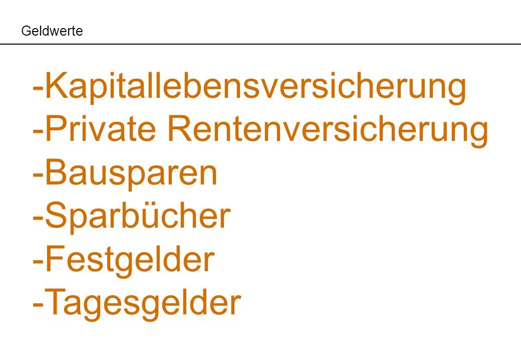 Geldwerte -Kapitallebensversicherung -Private Rentenversicherung -Bausparen -Sparbücher -Festgelder -Tagesgelder
