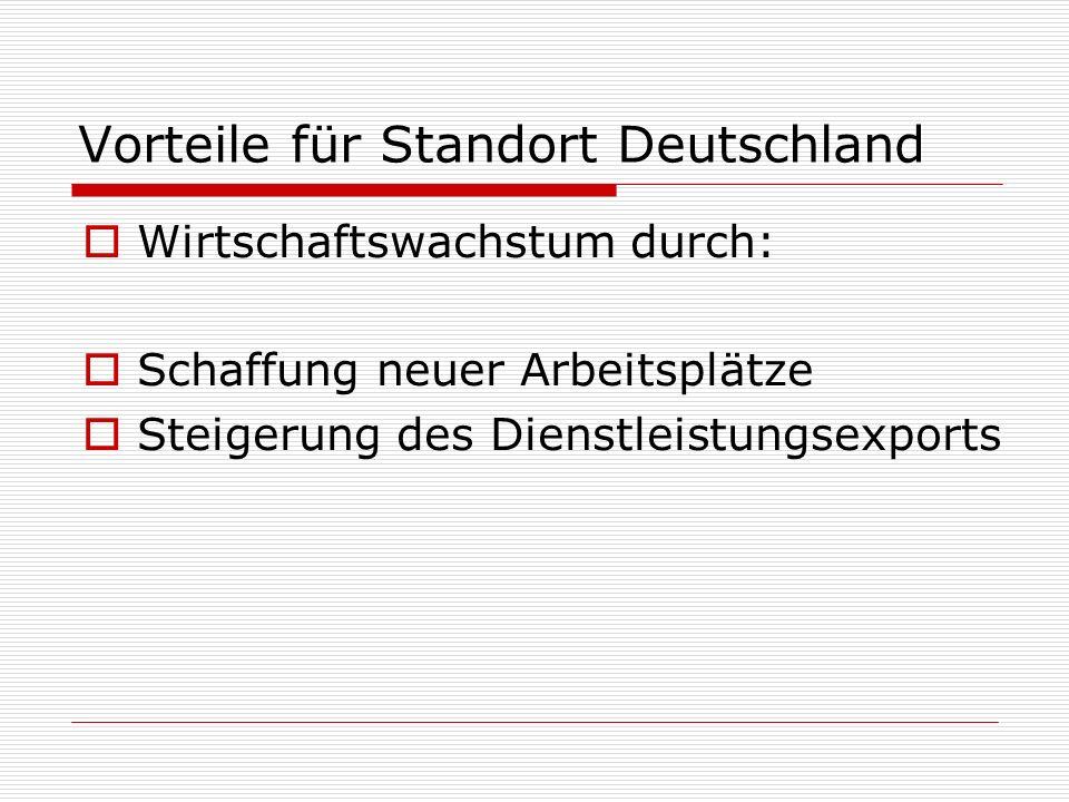 Vorteile für Standort Deutschland Wirtschaftswachstum durch: Schaffung neuer Arbeitsplätze Steigerung des Dienstleistungsexports