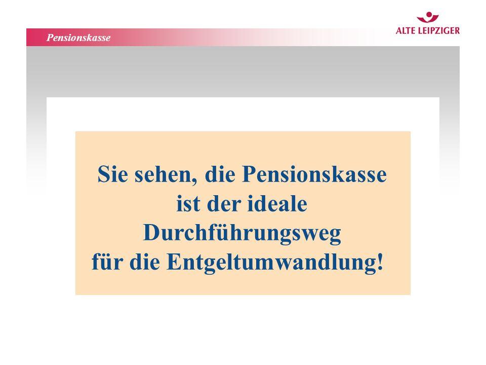 Funktionsbereiche AL-Leben Sie sehen, die Pensionskasse ist der ideale Durchführungsweg für die Entgeltumwandlung.