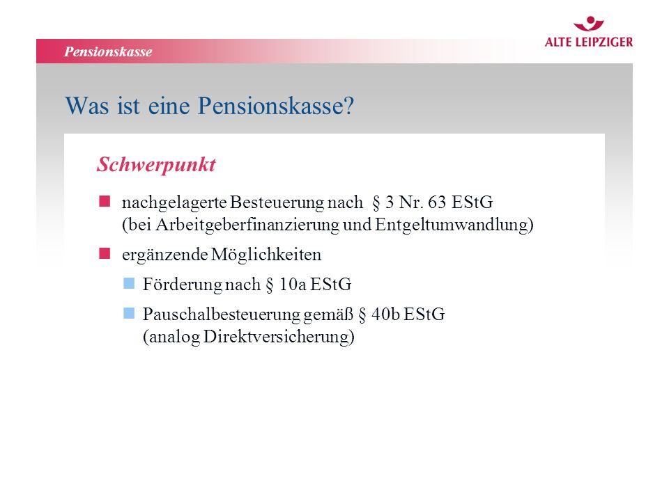 Pensionskasse Was ist eine Pensionskasse. nnachgelagerte Besteuerung nach § 3 Nr.