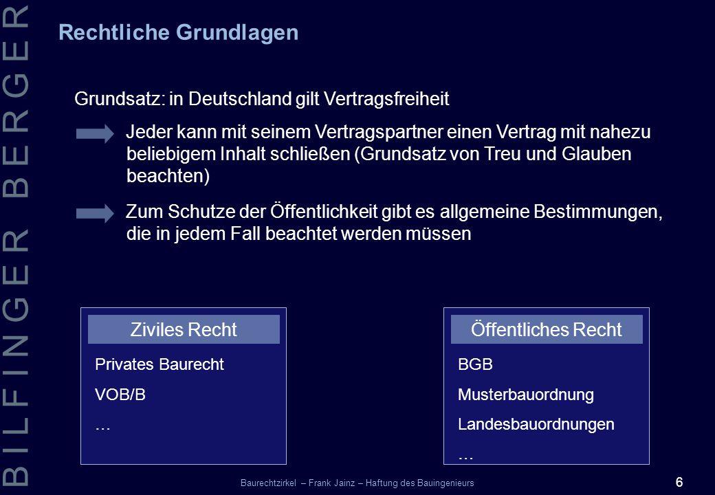 6 B I L F I N G E R B E R G E R Baurechtzirkel – Frank Jainz – Haftung des Bauingenieurs Grundsatz: in Deutschland gilt Vertragsfreiheit Rechtliche Gr