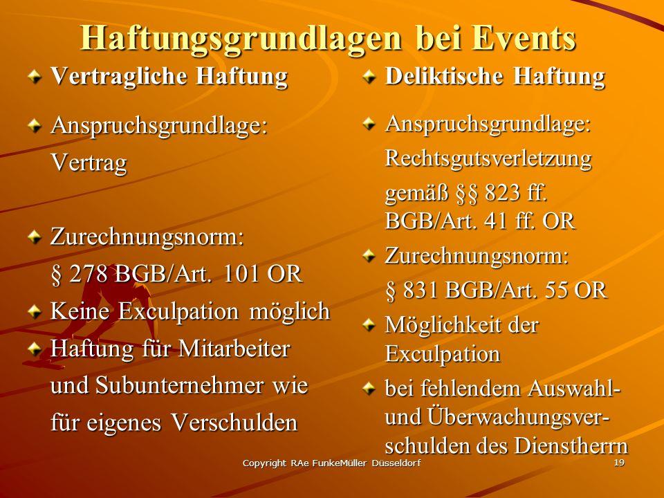 Copyright RAe FunkeMüller Düsseldorf 19 Haftungsgrundlagen bei Events Vertragliche Haftung Anspruchsgrundlage:VertragZurechnungsnorm: § 278 BGB/Art.