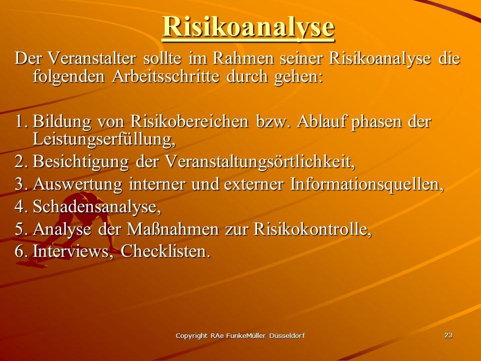 Copyright RAe FunkeMüller Düsseldorf 23 Risikoanalyse Der Veranstalter sollte im Rahmen seiner Risikoanalyse die folgenden Arbeitsschritte durch gehen: 1.Bildung von Risikobereichen bzw.