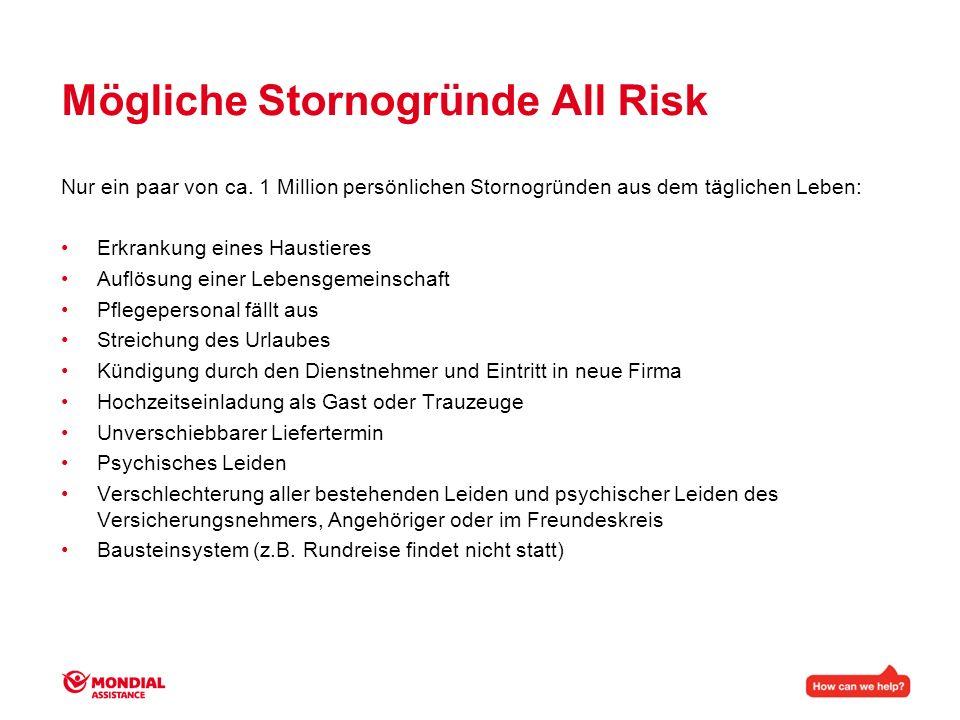 Mögliche Stornogründe All Risk Nur ein paar von ca. 1 Million persönlichen Stornogründen aus dem täglichen Leben: Erkrankung eines Haustieres Auflösun