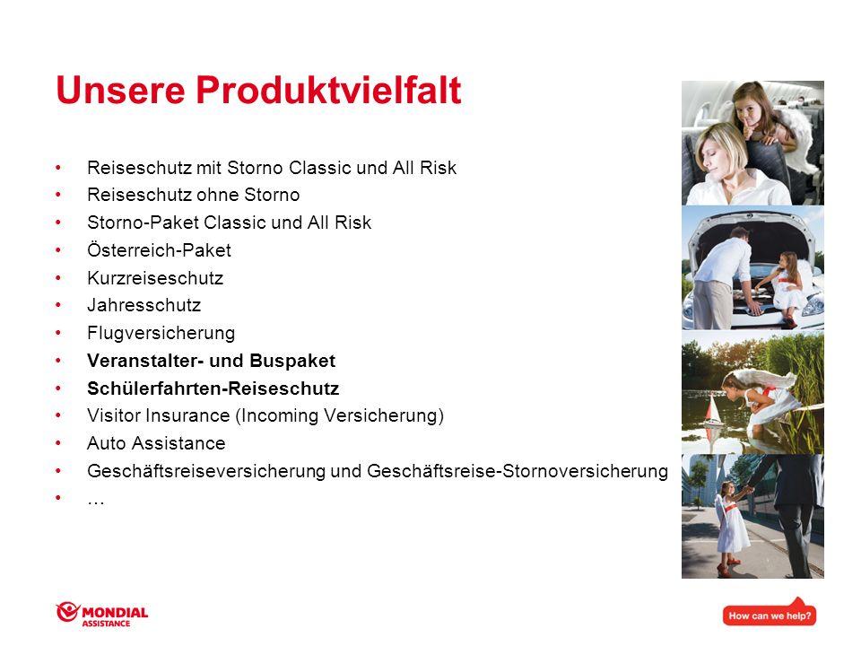 Unsere Produktvielfalt Reiseschutz mit Storno Classic und All Risk Reiseschutz ohne Storno Storno-Paket Classic und All Risk Österreich-Paket Kurzreis