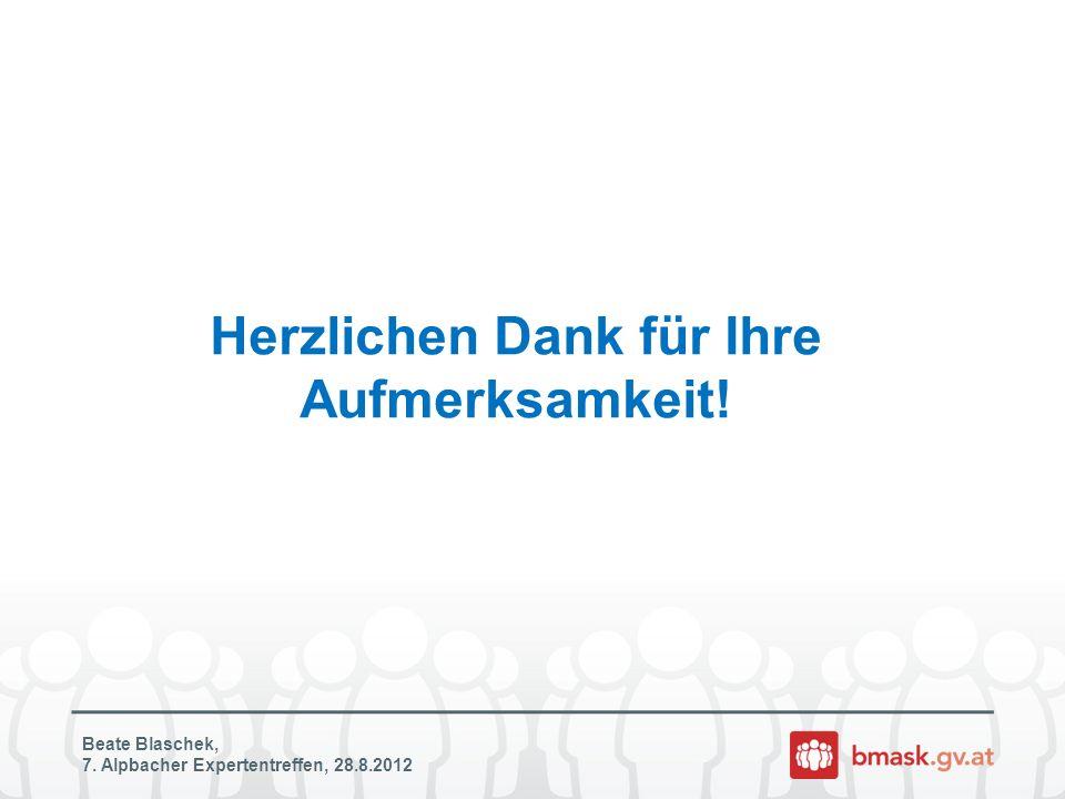 Herzlichen Dank für Ihre Aufmerksamkeit! Beate Blaschek, 7. Alpbacher Expertentreffen, 28.8.2012