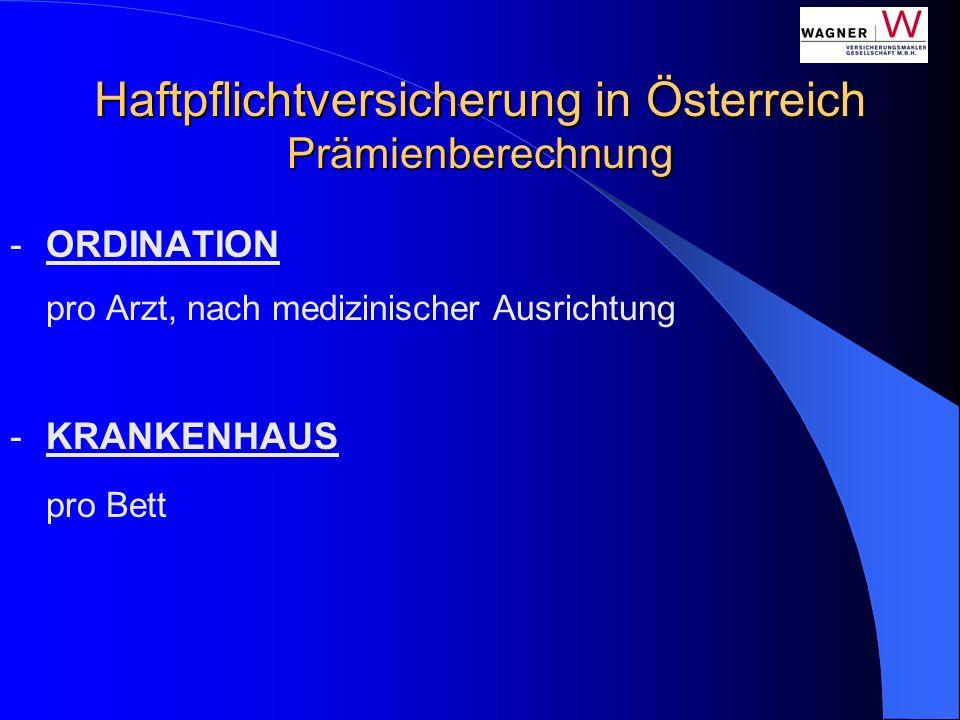 Haftpflichtversicherung in Österreich Prämienberechnung -ORDINATION pro Arzt, nach medizinischer Ausrichtung -KRANKENHAUS pro Bett