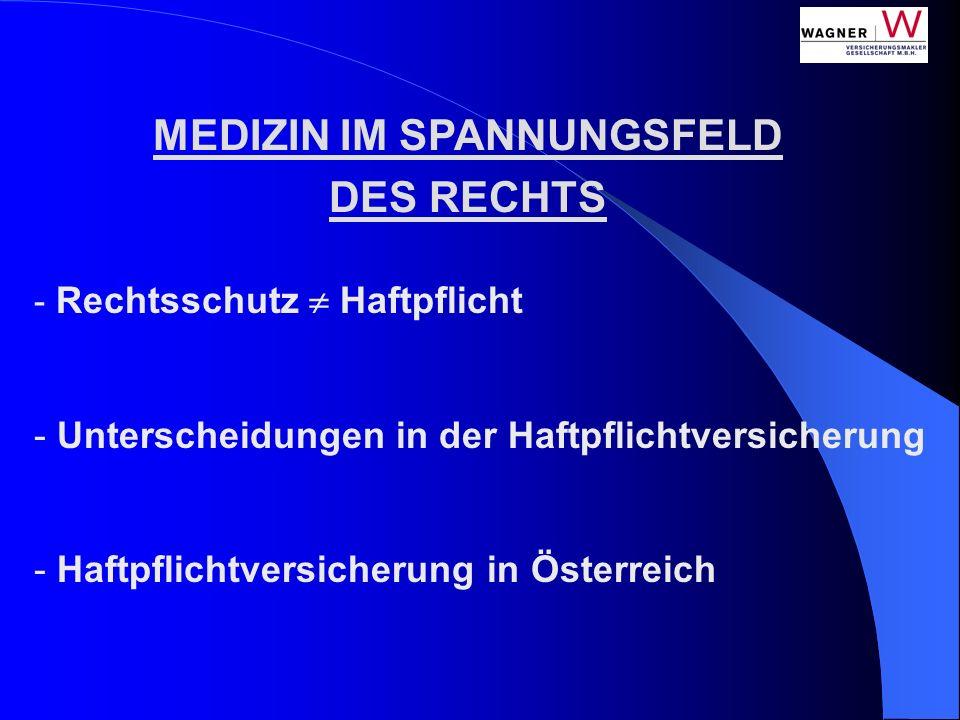 - Rechtsschutz Haftpflicht - Unterscheidungen in der Haftpflichtversicherung - Haftpflichtversicherung in Österreich MEDIZIN IM SPANNUNGSFELD DES RECH