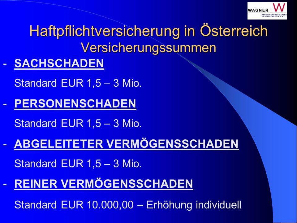 Haftpflichtversicherung in Österreich Versicherungssummen -SACHSCHADEN Standard EUR 1,5 – 3 Mio. -PERSONENSCHADEN Standard EUR 1,5 – 3 Mio. -ABGELEITE