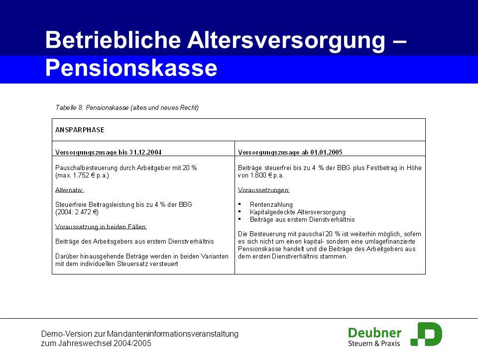 Demo-Version zur Mandanteninformationsveranstaltung zum Jahreswechsel 2004/2005 Betriebliche Altersversorgung – Pensionskasse