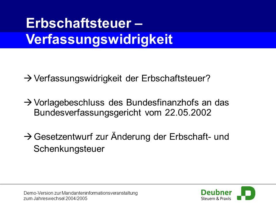 Demo-Version zur Mandanteninformationsveranstaltung zum Jahreswechsel 2004/2005 Verfassungswidrigkeit der Erbschaftsteuer? Vorlagebeschluss des Bundes