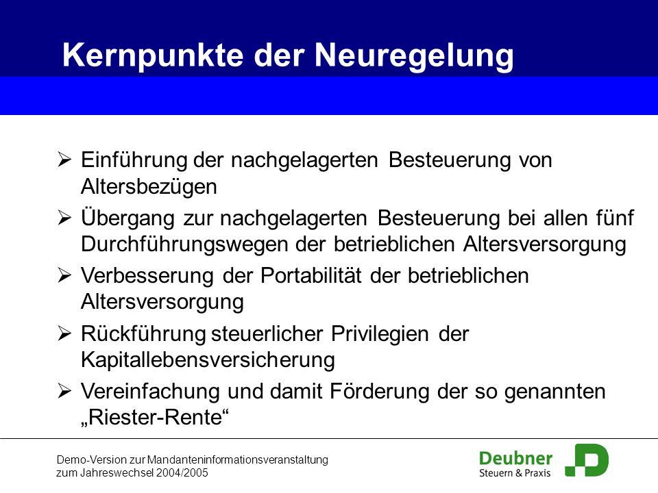 Demo-Version zur Mandanteninformationsveranstaltung zum Jahreswechsel 2004/2005 Einführung der nachgelagerten Besteuerung von Altersbezügen Übergang z