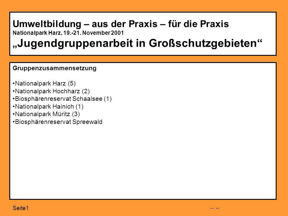 Seite1 Umweltbildung – aus der Praxis – für die Praxis Nationalpark Harz, 19.-21.