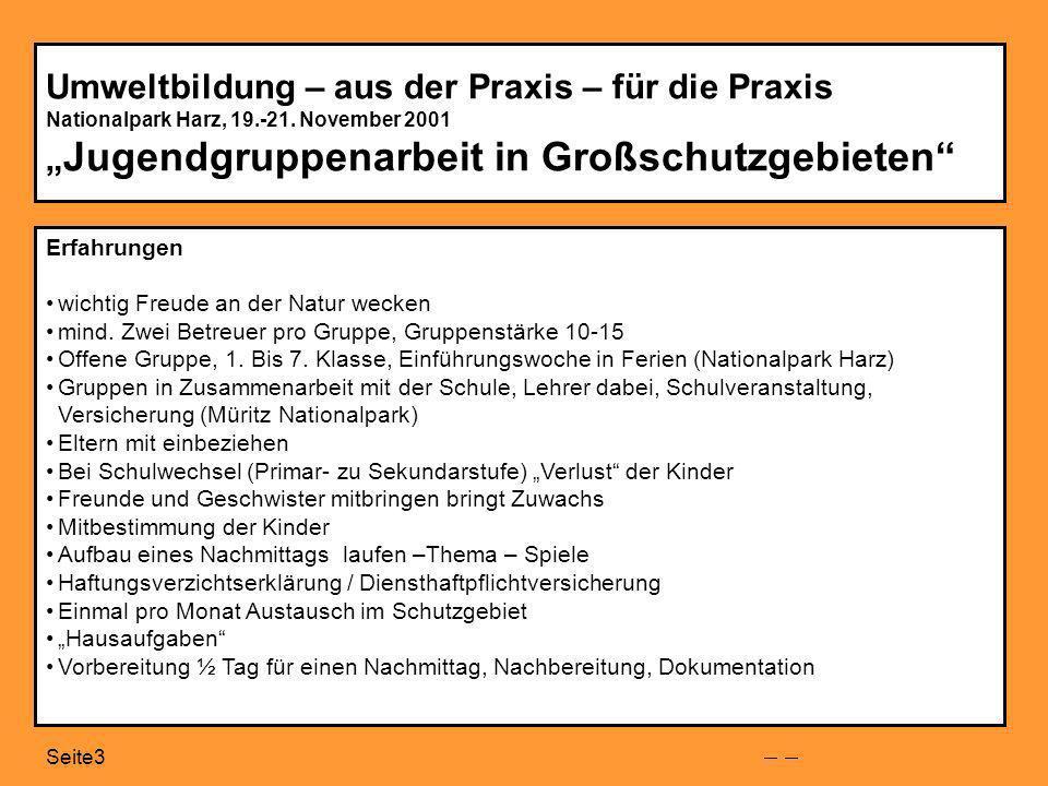 Seite3 Umweltbildung – aus der Praxis – für die Praxis Nationalpark Harz, 19.-21.