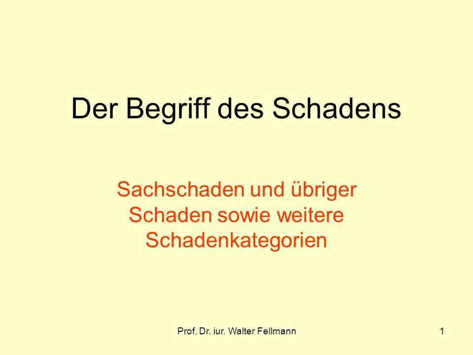 Prof. Dr. iur. Walter Fellmann1 Der Begriff des Schadens Sachschaden und übriger Schaden sowie weitere Schadenkategorien