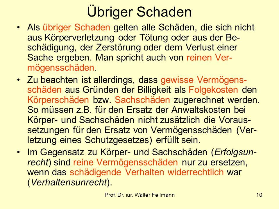 Prof. Dr. iur. Walter Fellmann10 Übriger Schaden Als übriger Schaden gelten alle Schäden, die sich nicht aus Körperverletzung oder Tötung oder aus der