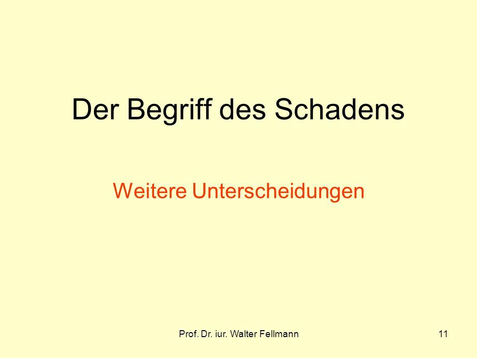 Prof. Dr. iur. Walter Fellmann11 Der Begriff des Schadens Weitere Unterscheidungen