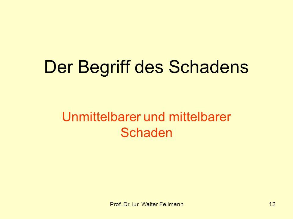 Prof. Dr. iur. Walter Fellmann12 Der Begriff des Schadens Unmittelbarer und mittelbarer Schaden