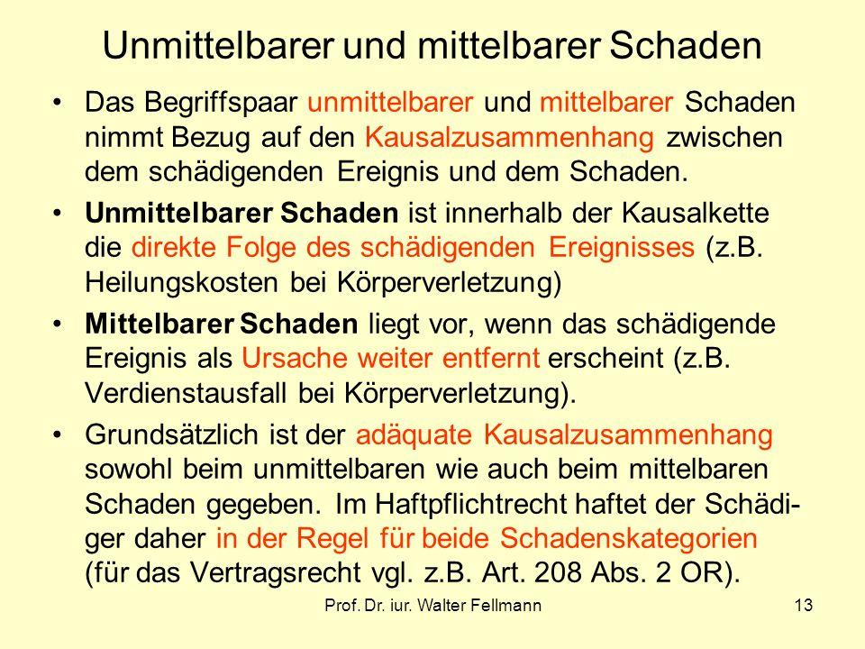 Prof. Dr. iur. Walter Fellmann13 Unmittelbarer und mittelbarer Schaden Das Begriffspaar unmittelbarer und mittelbarer Schaden nimmt Bezug auf den Kaus