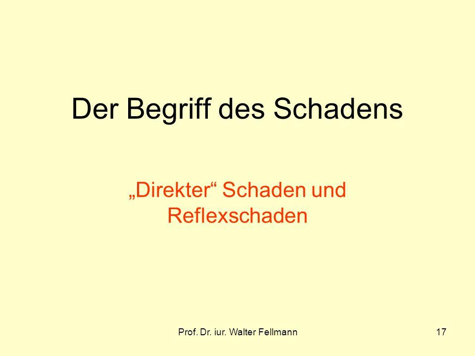 Prof. Dr. iur. Walter Fellmann17 Der Begriff des Schadens Direkter Schaden und Reflexschaden