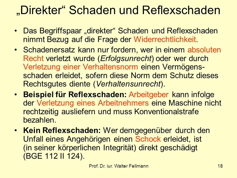Prof. Dr. iur. Walter Fellmann18 Direkter Schaden und Reflexschaden Das Begriffspaar direkter Schaden und Reflexschaden nimmt Bezug auf die Frage der