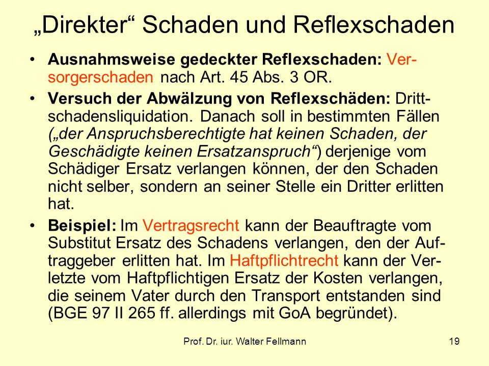 Prof. Dr. iur. Walter Fellmann19 Direkter Schaden und Reflexschaden Ausnahmsweise gedeckter Reflexschaden: Ver- sorgerschaden nach Art. 45 Abs. 3 OR.