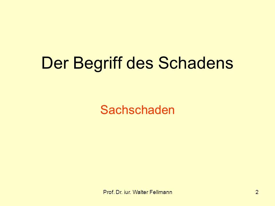 Prof. Dr. iur. Walter Fellmann2 Der Begriff des Schadens Sachschaden