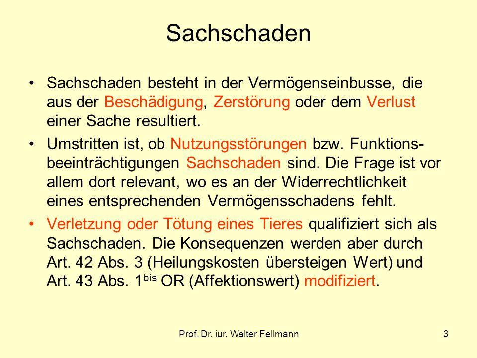 Prof. Dr. iur. Walter Fellmann3 Sachschaden Sachschaden besteht in der Vermögenseinbusse, die aus der Beschädigung, Zerstörung oder dem Verlust einer