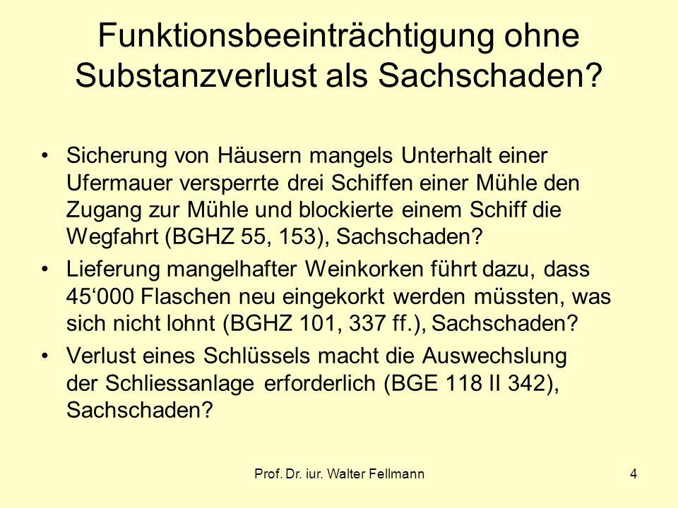 Prof. Dr. iur. Walter Fellmann4 Funktionsbeeinträchtigung ohne Substanzverlust als Sachschaden? Sicherung von Häusern mangels Unterhalt einer Ufermaue