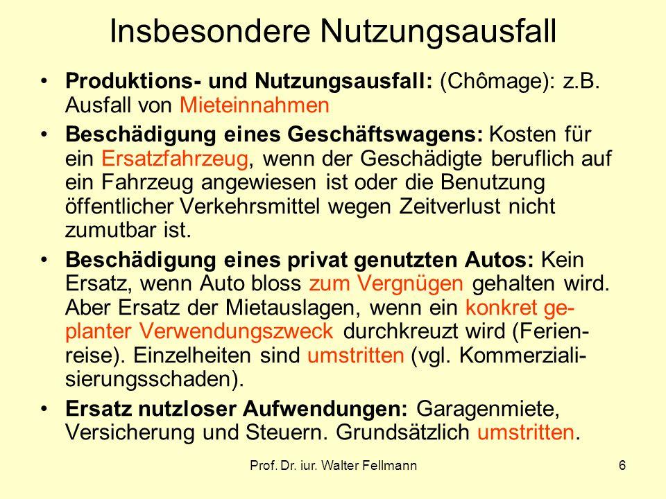 Prof. Dr. iur. Walter Fellmann6 Insbesondere Nutzungsausfall Produktions- und Nutzungsausfall: (Chômage): z.B. Ausfall von Mieteinnahmen Beschädigung