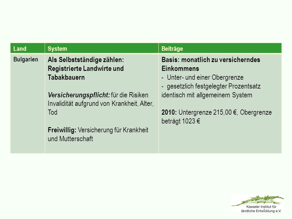 LandSystemBeiträge Bulgarien Als Selbstständige zählen: Registrierte Landwirte und Tabakbauern Versicherungspflicht: für die Risiken Invalidität aufgr