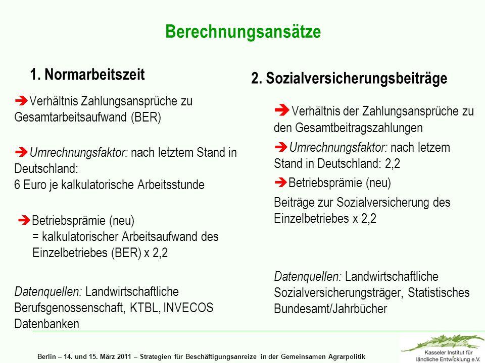 Berlin – 14. und 15. März 2011 – Strategien für Beschäftigungsanreize in der Gemeinsamen Agrarpolitik Berechnungsansätze 1. Normarbeitszeit Verhältnis