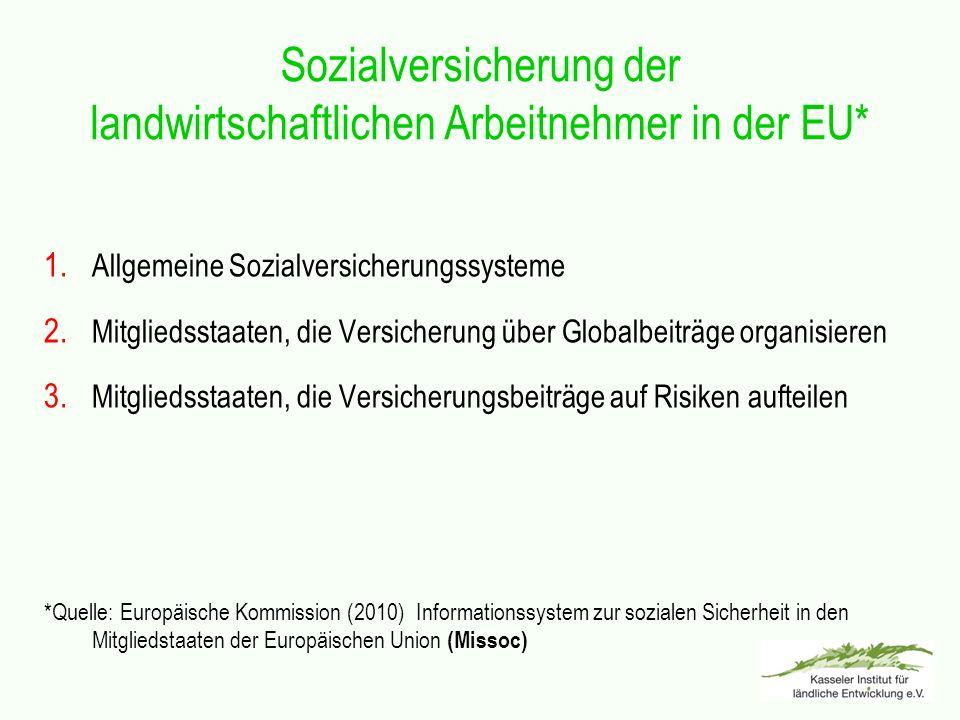 Sozialversicherung der landwirtschaftlichen Arbeitnehmer in der EU* 1. Allgemeine Sozialversicherungssysteme 2. Mitgliedsstaaten, die Versicherung übe