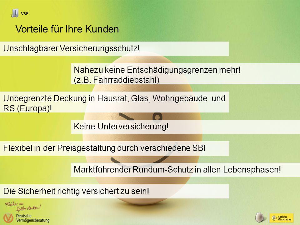 03/ 2011 © Deutsche Vermögensberatung AG Vorteile für Ihre Kunden Unbegrenzte Deckung in Hausrat, Glas, Wohngebäude und RS (Europa)! Nahezu keine Ents