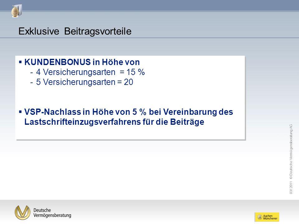 03/ 2011 © Deutsche Vermögensberatung AG KUNDENBONUS in Höhe von -4 Versicherungsarten = 15 % -5 Versicherungsarten = 20 VSP-Nachlass in Höhe von 5 %