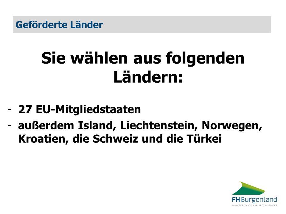 Geförderte Länder Sie wählen aus folgenden Ländern: -27 EU-Mitgliedstaaten -außerdem Island, Liechtenstein, Norwegen, Kroatien, die Schweiz und die Tü