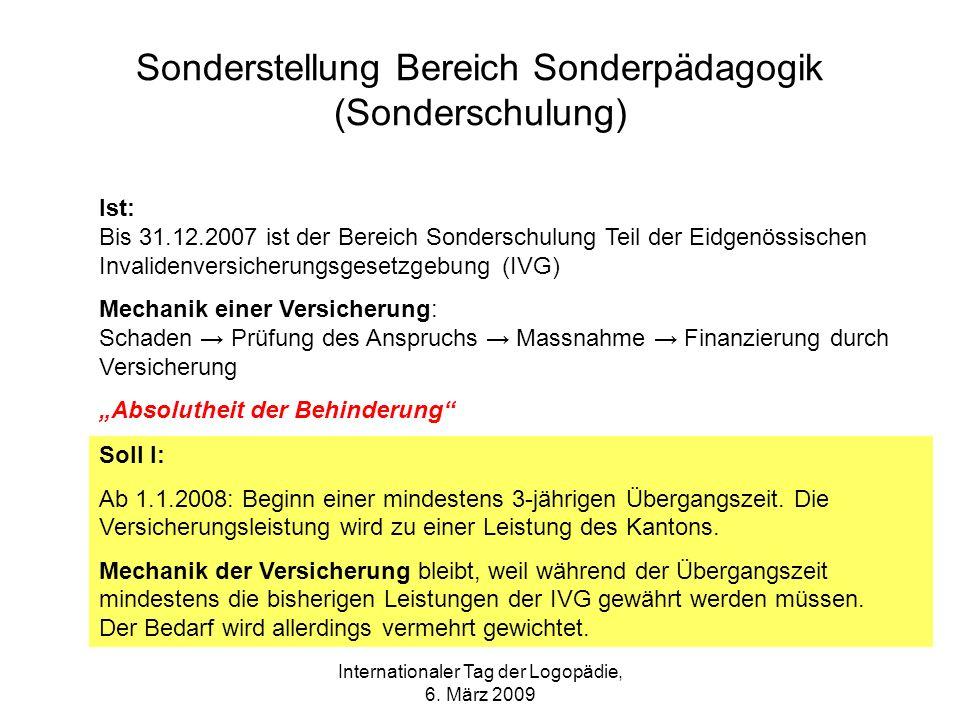 Internationaler Tag der Logopädie, 6. März 2009 Sonderstellung Bereich Sonderpädagogik (Sonderschulung) Ist: Bis 31.12.2007 ist der Bereich Sonderschu