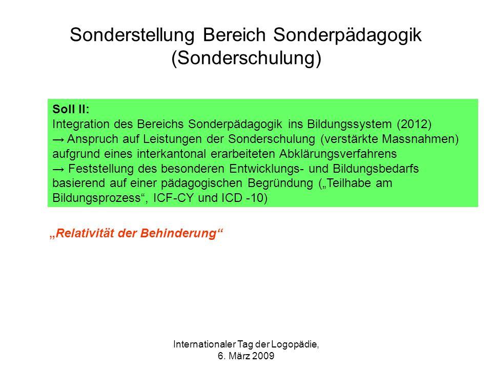 Internationaler Tag der Logopädie, 6. März 2009 Sonderstellung Bereich Sonderpädagogik (Sonderschulung) Soll II: Integration des Bereichs Sonderpädago
