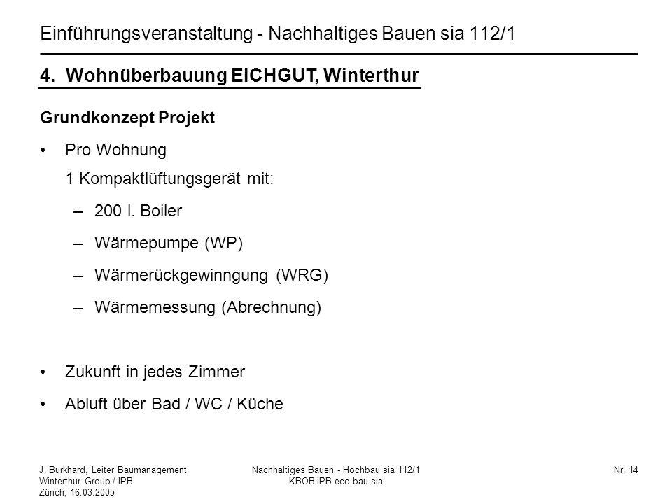 J. Burkhard, Leiter Baumanagement Winterthur Group / IPB Zürich, 16.03.2005 Nachhaltiges Bauen - Hochbau sia 112/1 KBOB IPB eco-bau sia Nr. 14 Einführ