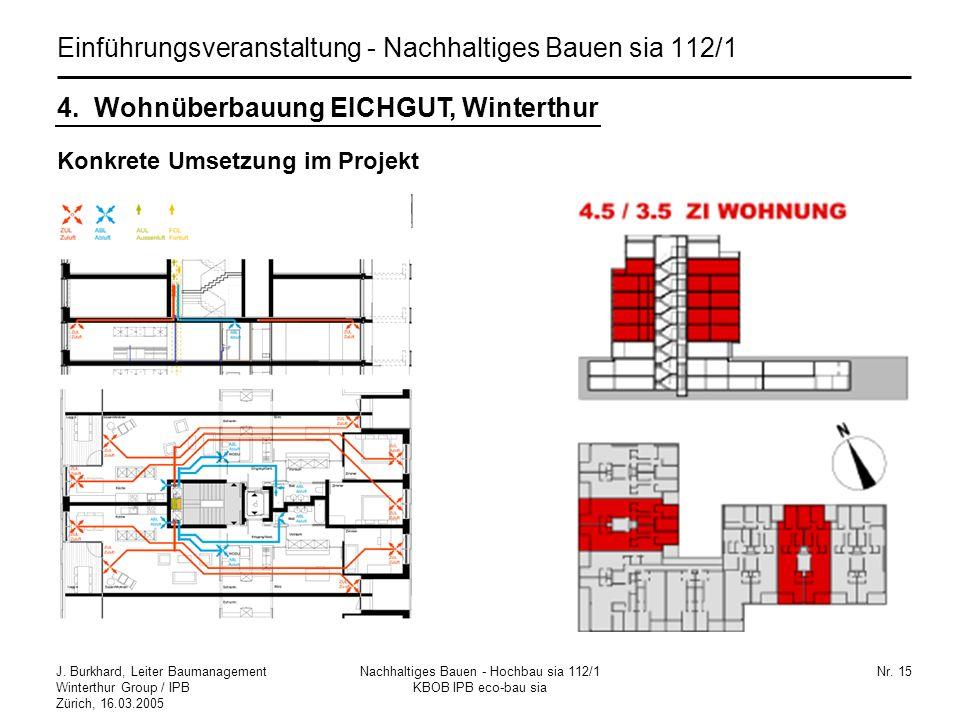 J. Burkhard, Leiter Baumanagement Winterthur Group / IPB Zürich, 16.03.2005 Nachhaltiges Bauen - Hochbau sia 112/1 KBOB IPB eco-bau sia Nr. 15 Konkret