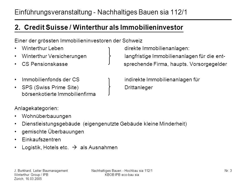 J. Burkhard, Leiter Baumanagement Winterthur Group / IPB Zürich, 16.03.2005 Nachhaltiges Bauen - Hochbau sia 112/1 KBOB IPB eco-bau sia Nr. 3 2. Credi